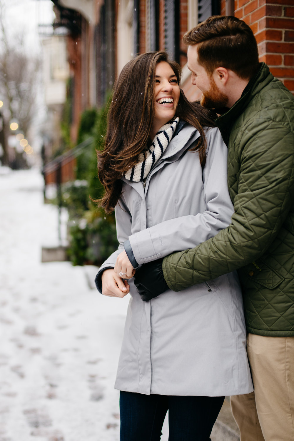 boston engagement photos in the snow