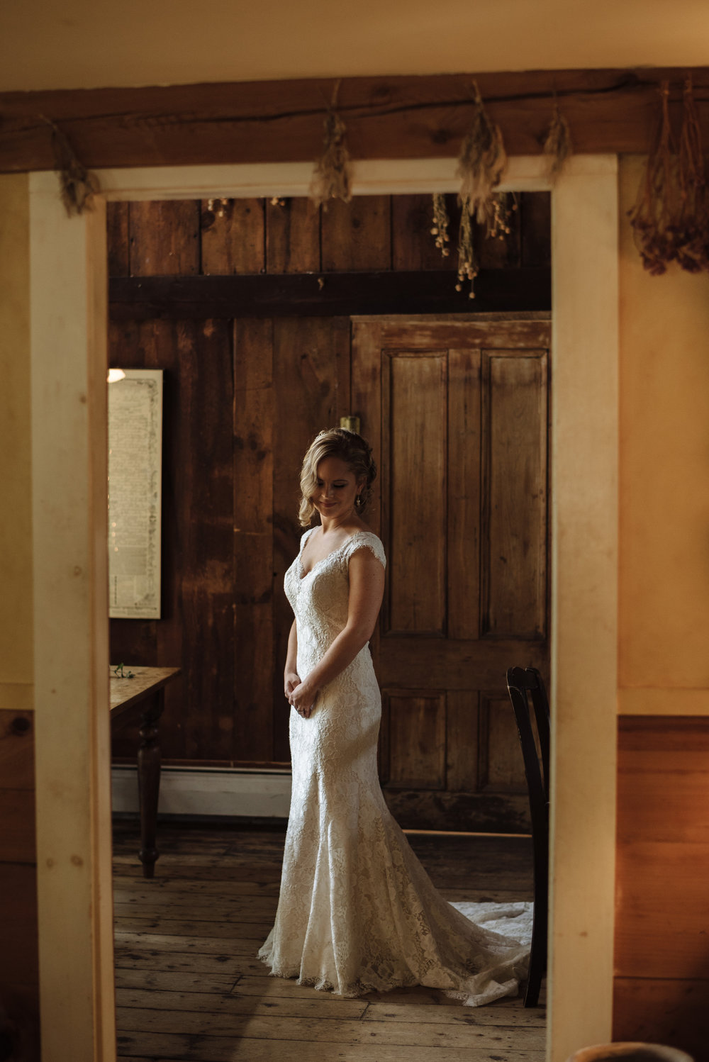 bridal portrait inside the rustic Herb Lyceum