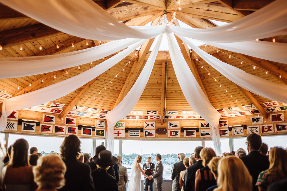 wedding ceremony photo at eastern yacht club