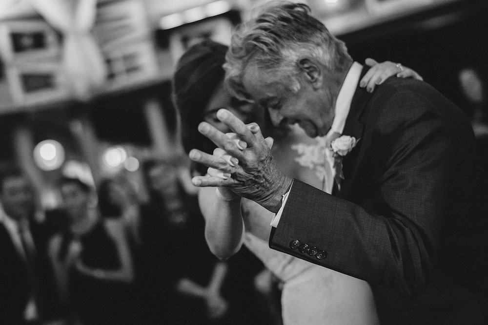 father and bride dance at the eastern yacht club