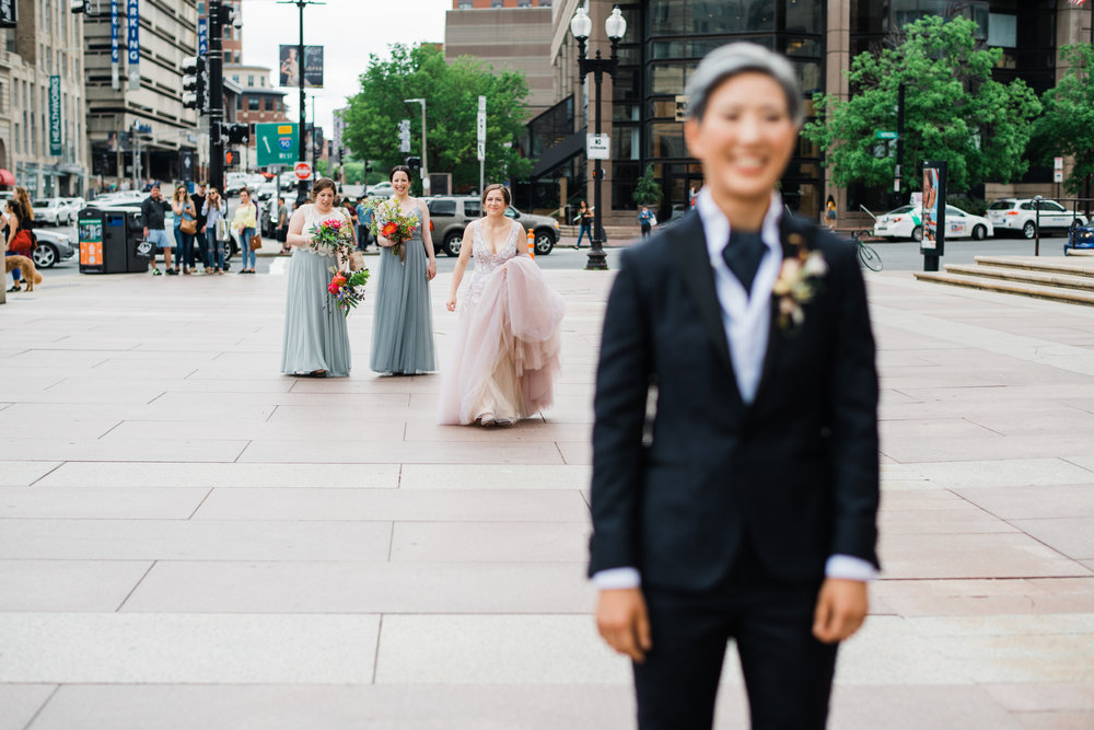first look with both brides same-sex boston wedding photos