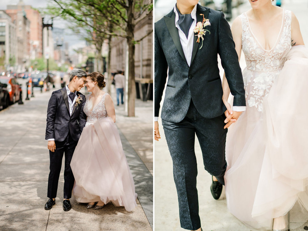 modern and beautiful same-sex gay wedding portraits boston downtown