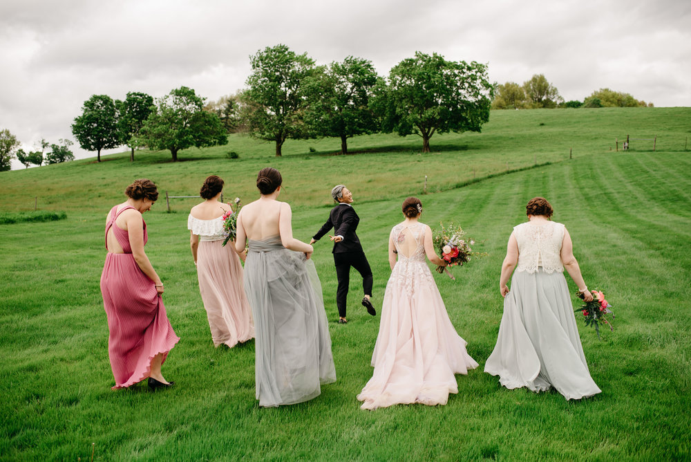 bride and bridesmaids portraits at the barn at gibbet hill