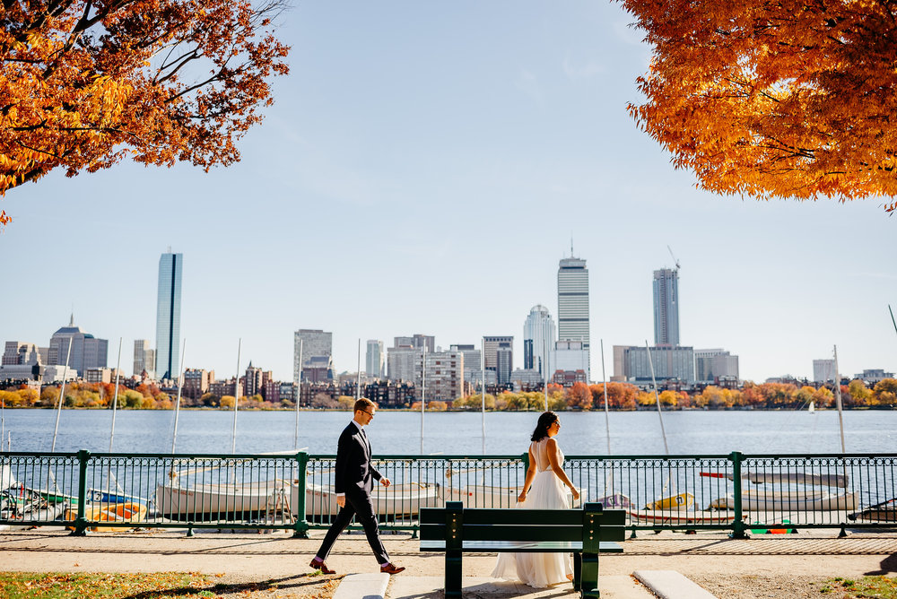 boston skyline engagement and elopement portraits