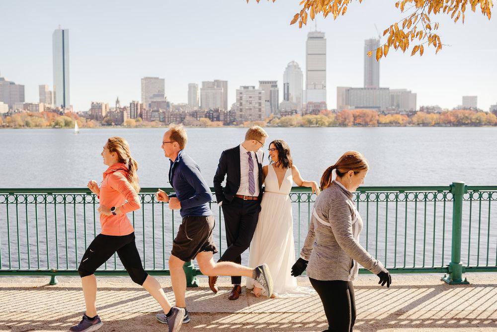 fun wedding photos and wedding venues with boston skyline views