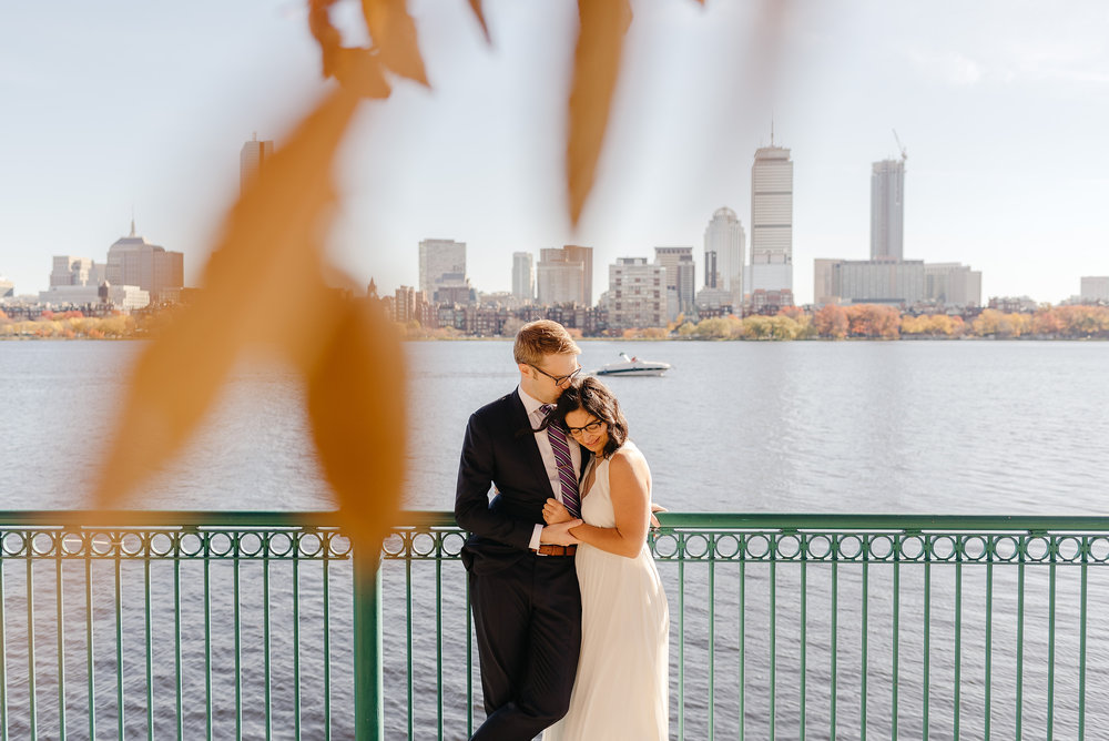 skyline views of boston cambridge elopement