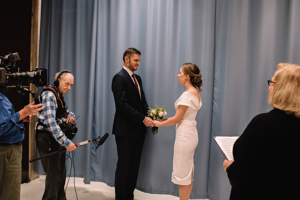 intimate wedding ceremony at boston city hall