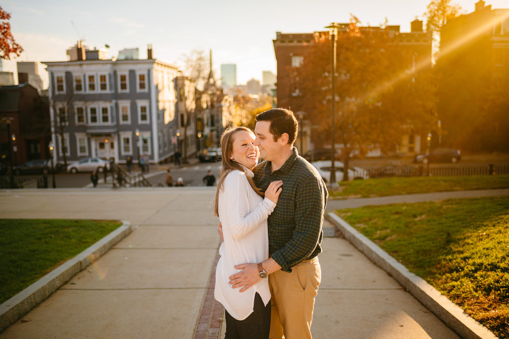 summer charlestown, ma engagement photos with boston views