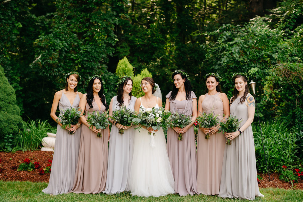 bridesmaids in new hampshire mountains white mountain wedding