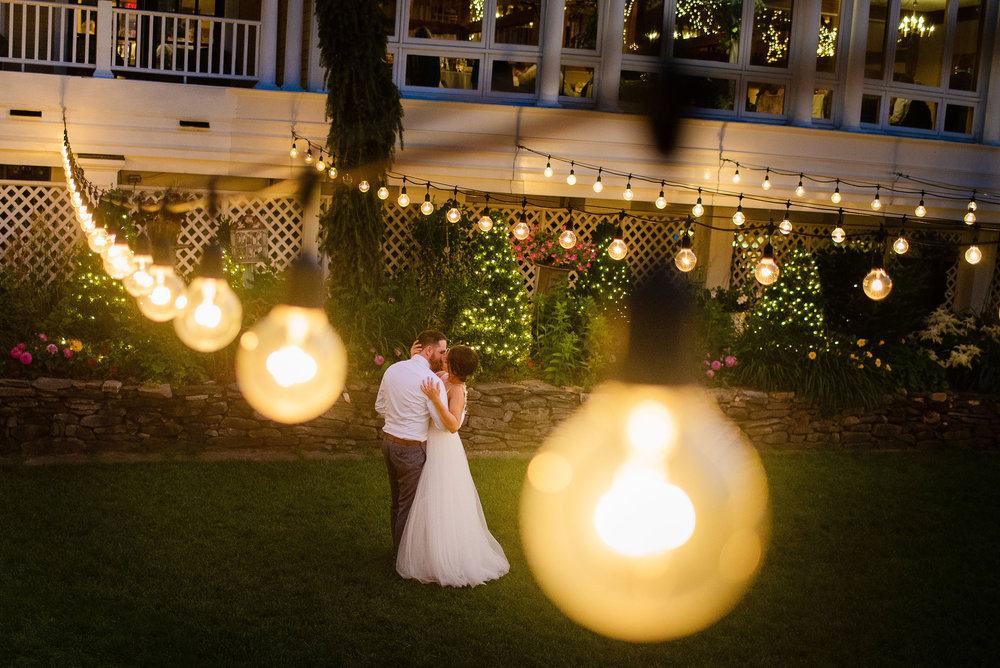 creative night photos of summer wedding at bedford village inn