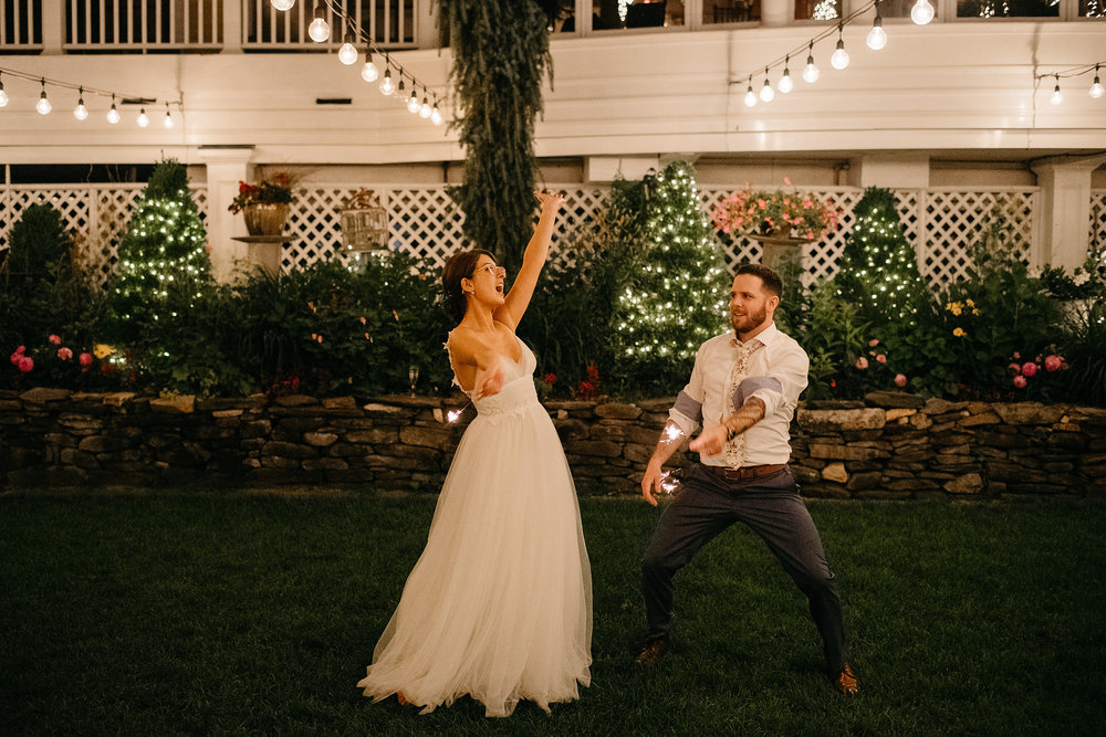 night time sparklers at new hampshire wedding venues