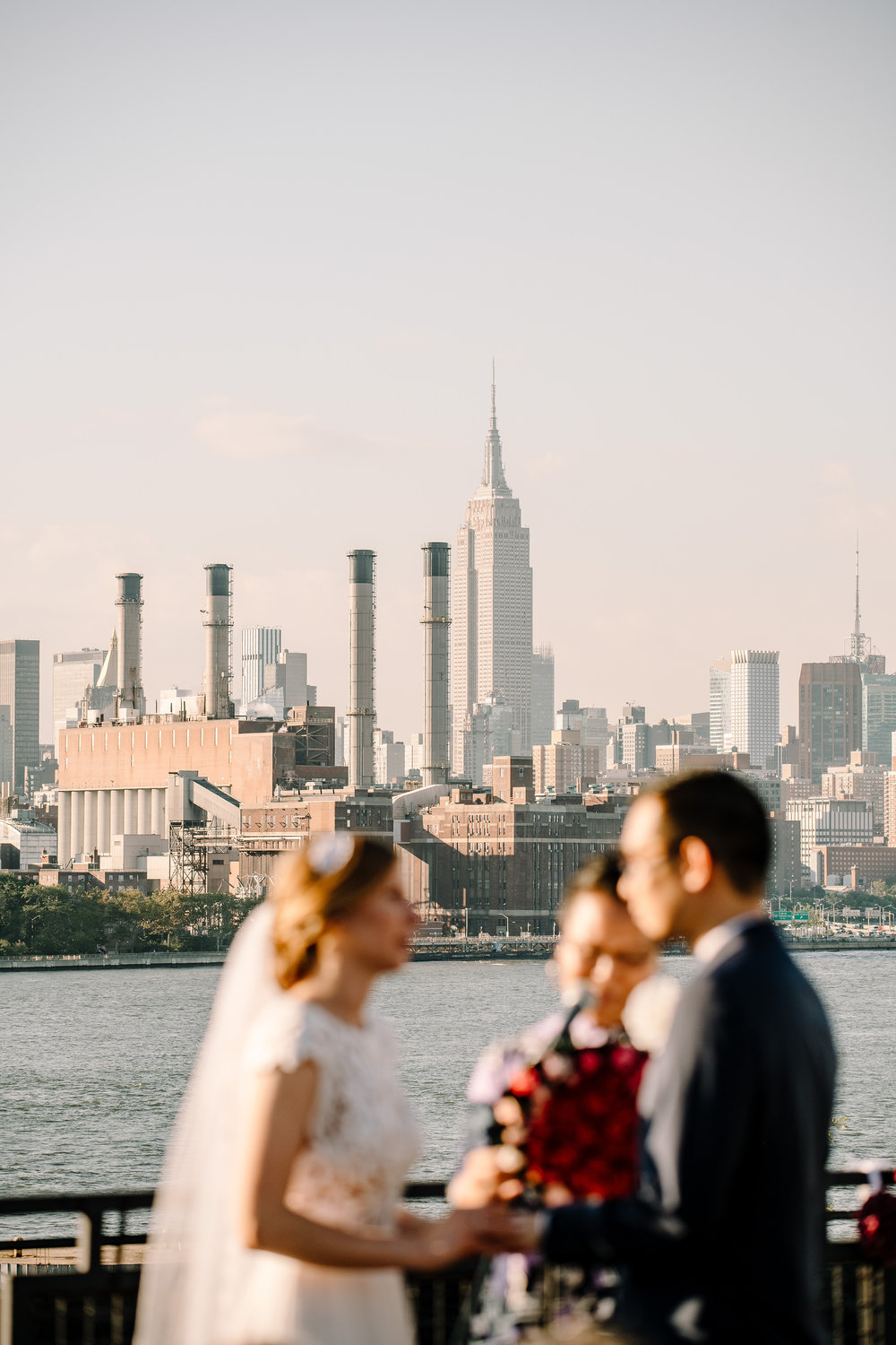 NYC skyline wedding photo
