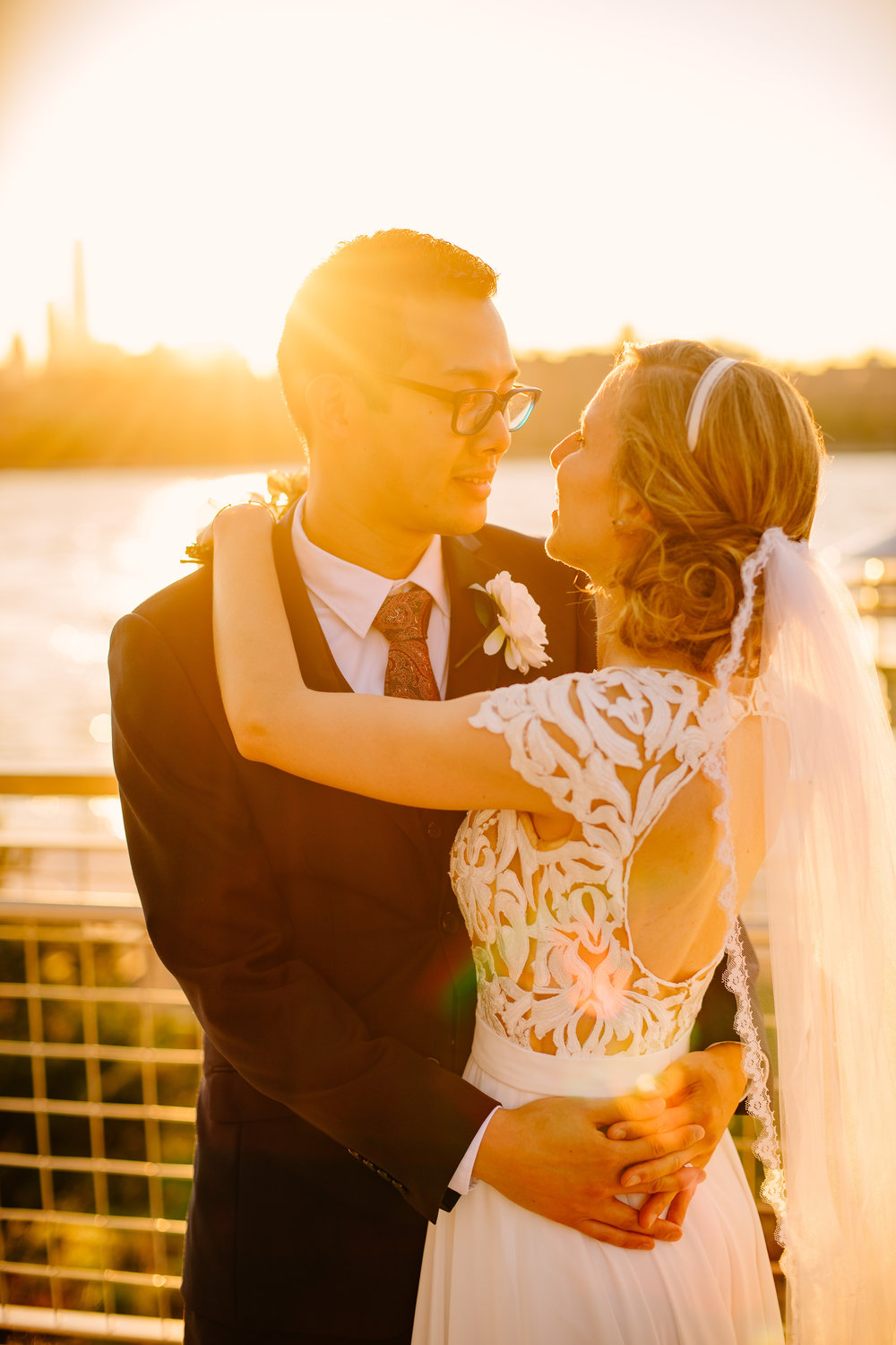 domino park wedding portrait during sunset