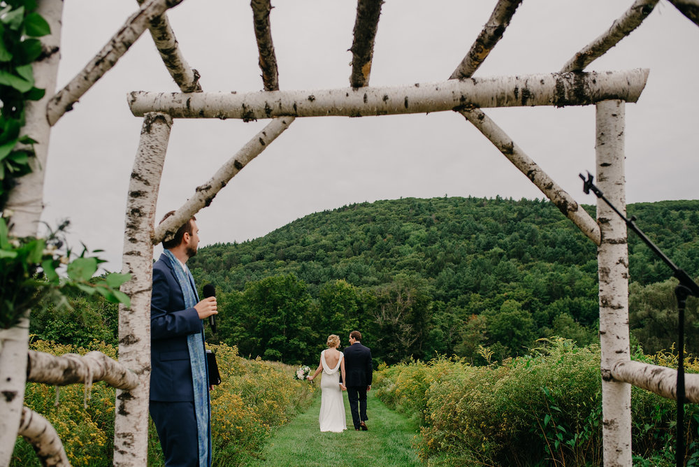 Montague Retreat Center wedding outdoor ceremony in september