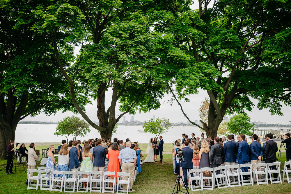 thompson island ceremony space with views of boston