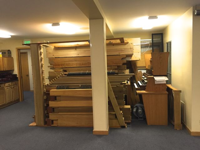Fitting together like a jigsaw puzzle, all of the organ pieces were condensed into the former Library area in the Fellowship Hall. They will be stored there until the the organ can be reinstalled in our newly constructed Sanctuary.