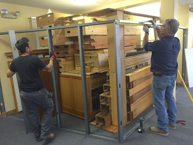 Framing is put in place for a wall to protect the disassembled organ components.