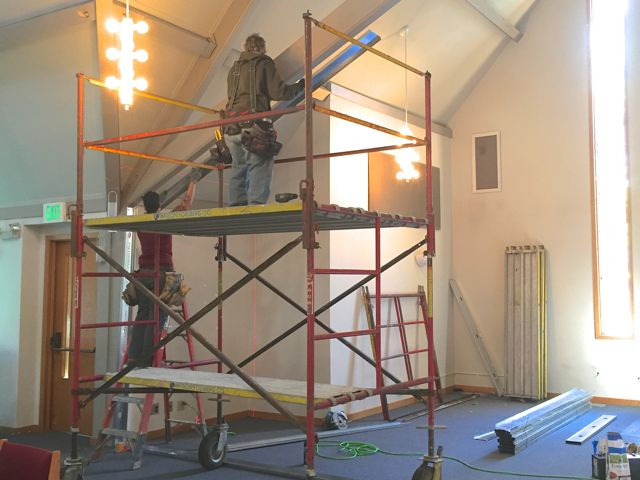 Framing for a temporary wall was installed in the Sanctuary today. When finished, the wall will seal off the south alcove which will be in the construction zone for the new addition.