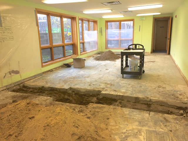 The former Youth Room has been completely cleared out, and utility trenches are being cut in the floor. When completed, this space will serve as ECLC's new Boiler Room.