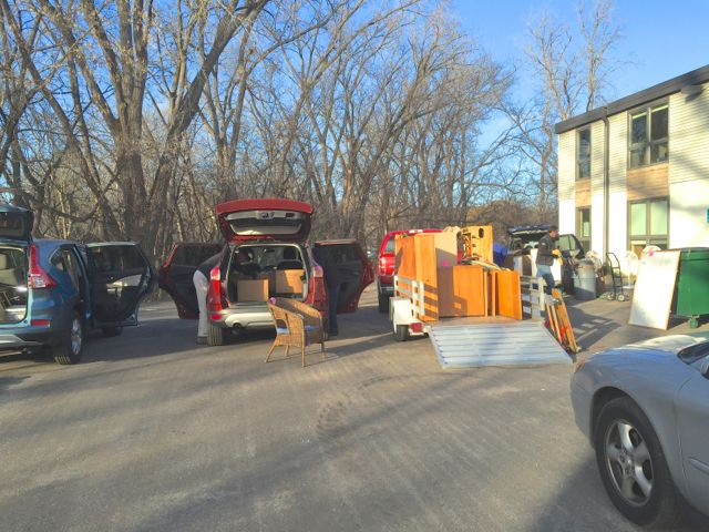 Multiple vehicles were loaded for the caravans to our storage locker and a donation drop-off site.
