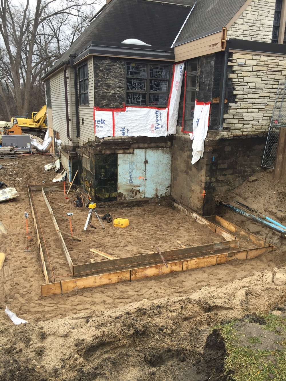 The forms are now in place to pour the concrete footings for the kitchen addition.