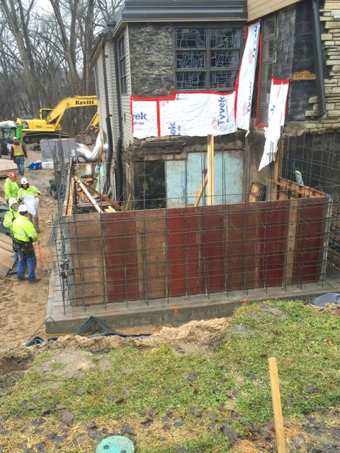 Next, the forms for the foundation walls of the kitchen addition were assembled.