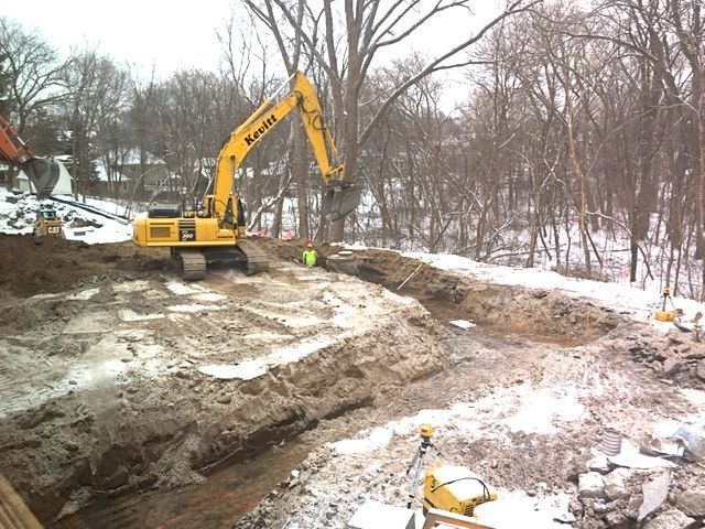 After some cold weather delays, excavation began this week on the south side of the building for the Sanctuary addition footings.