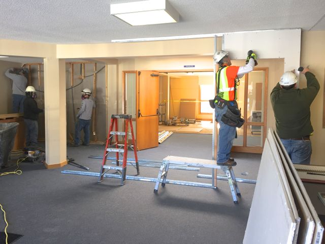 Yesterday work began inside the main entrance to close off a new construction zone, and remove a wall to allow access to the center Sanctuary doors. Curious about the end result? Come to our Ash Wednesday Service tonight at 7:00 pm and see it firsthand!