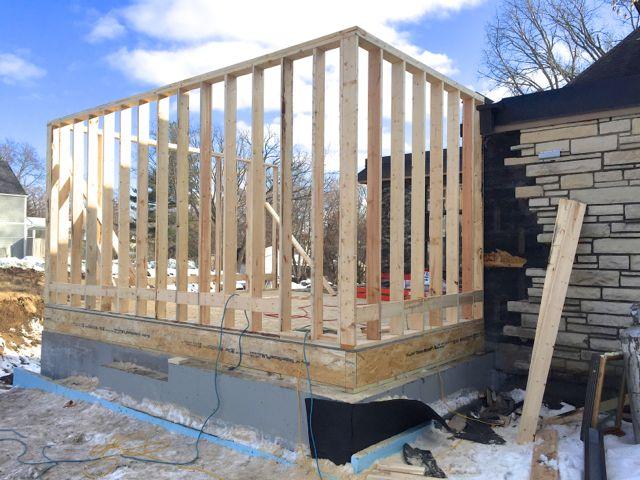 Next, framing of the exterior walls begins.