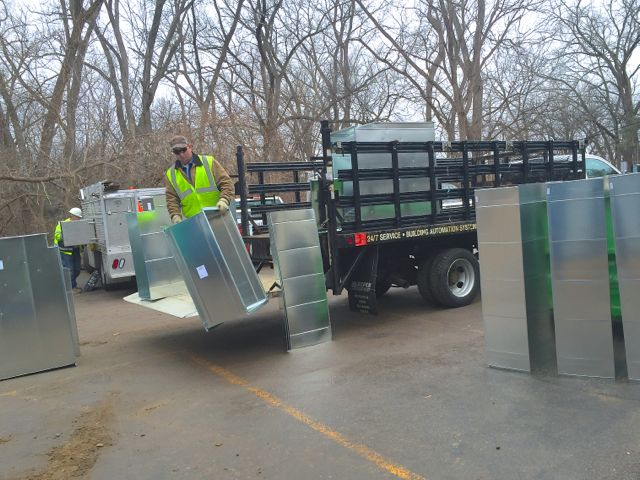 Several ductwork components for the new heating, ventilation, and air conditioning (HVAC) system were delivered today.