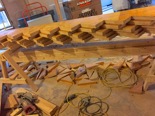 After precise measurement, notches were cut in large pieces of lumber to create stringers. They will be used in the new main staircase that will connect the upper and lower levels of the building.