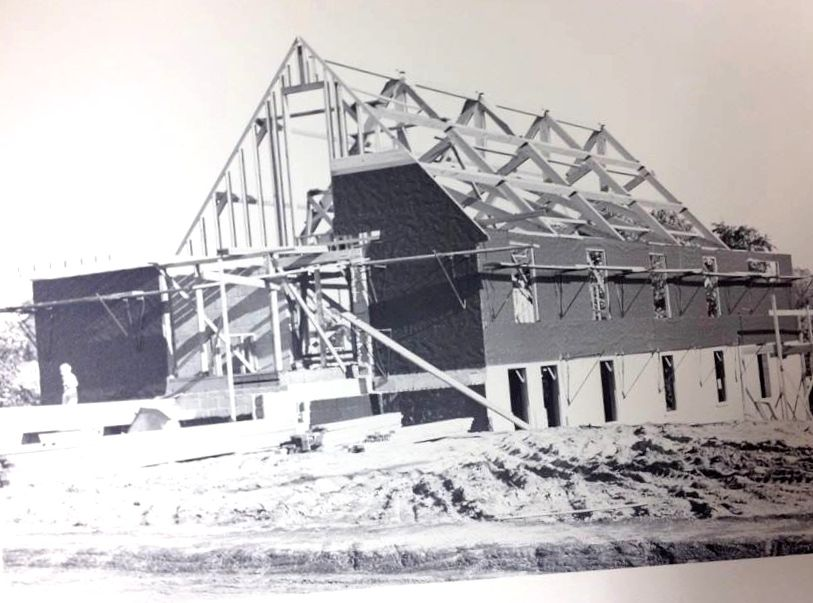 Construction of the original church structure in 1949.