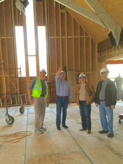 Yesterday, Construction Committee members Jerry Ritter, Bob Boettcher, Doris Pagelkopf, and Dan Mason (L-R) walked through the entire site to keep tabs on building project progress. The group, which also includes Harlan Johnson, Helen Wood, Diane Helgeson, and Kristian Clauser, meets biweekly with representatives from ECLC's architecture firm and construction company.