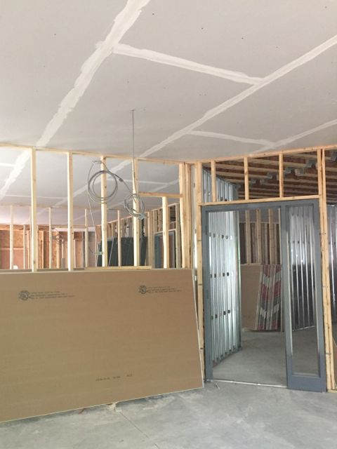 Ceilings are now being installed in the new south addition classrooms.