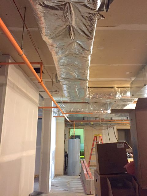 One of the goals of our building project was to improve our energy efficiency. Toward this end, insulation is being added to ductwork and pipes throughout the remodeled sections of the church.