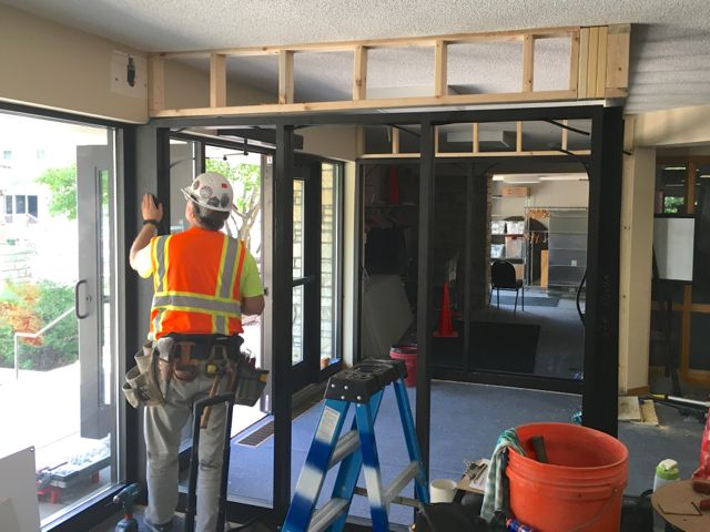 One of the building project's many energy efficiency improvements is the addition of a vestibule to the main 54th Street entrance to the church.