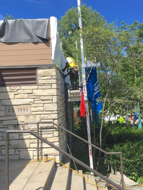 Over the years, woodpeckers made our old siding look like Swiss cheese. It's now being replaced with much more durable fiber cement siding.