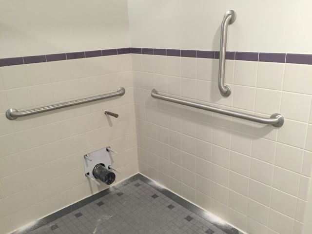 A key objective for our construction project was to improve accessibility throughout the facility. One of the ways we're doing this is by adding ADA compliant restrooms with features such as grab bars and adequate space for a wheelchair turning radius.