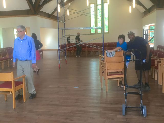Although many sections of the church are still under construction, today we reached an important project milestone -- we began moving furnishings into our new sanctuary!