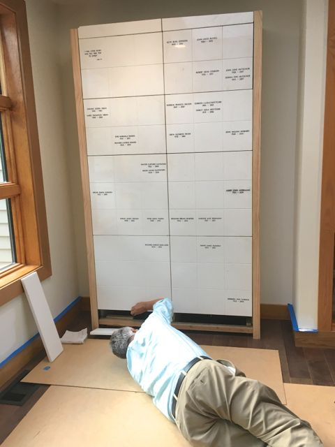 The columbarium has been safely relocated into the new sanctuary, thanks to the careful and care-filled work of Eileen Supple, Rynda Carlis, Erik Strand, and Lauren Morse-Wendt. Above, Pastor Erik is shown adjusting the position of a marble panel.