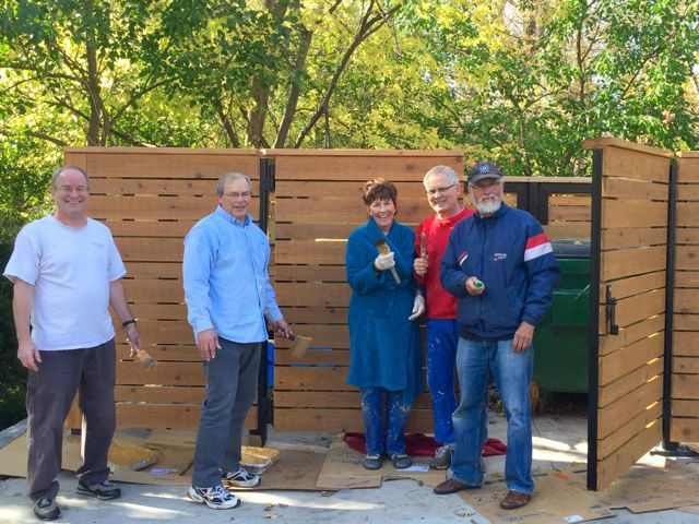 We're grateful for the ECLC members who volunteered to stain and seal our new cedar enclosures -- and for today's perfect autumn weather!