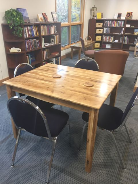 ECLC member Jim Strom continues to transform the trees that were harvested from the construction zone last fall. His latest creation is a beautiful table for the church library, complete with wood coasters.