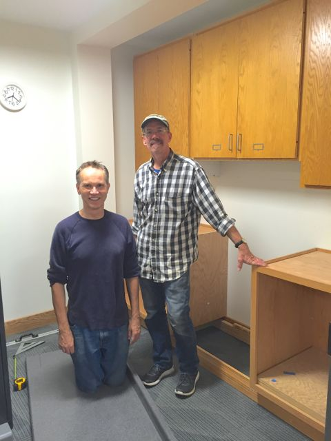 Harlan Johnson, Properties Committee Chair, and Jonathan Flak, Minister of Properties, have spent many weeknights and Saturdays working on various aspects of the building project over the past year. Last night, they installed cabinets and a work counter in the office copy room.