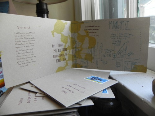 Keep Writing no. 28  4 1/2 x 12 1/2 inches, folded in half, silkscreen with letterpress.  Year three postcards are interactive offering a challenge for the recipient to return.  I drew a map of the neighborhood where I lived for 4 years in New Orleans.  In return, I asked for maps of anything.