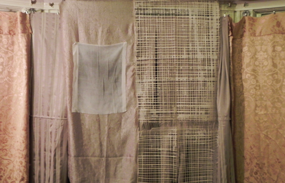 etching by erin curry on silk on the left, panel of paper by constance on the right