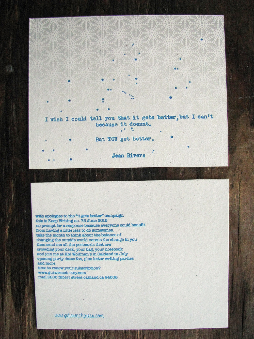 Keep Writing number 75 June 2015 Fluorescent blue and grey on white, with a quote from Joan Rivers