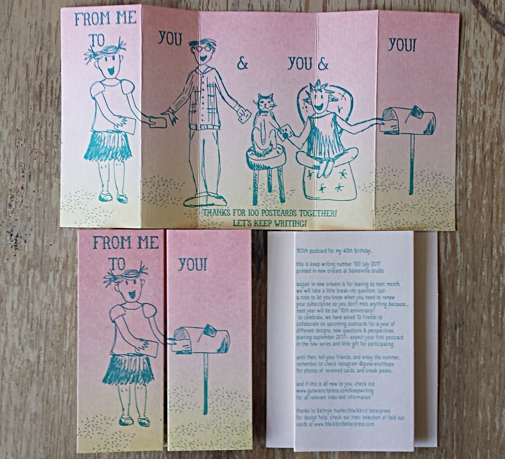 Keep Writing number 100, July 2017, three color pull out card. Lettpress printed, die cut, folded and mailed in an envelope,