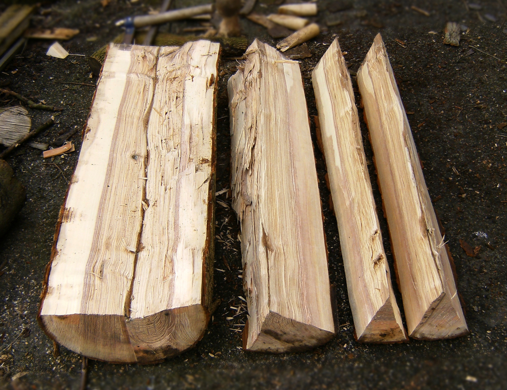 The logs are split in half and then in half again and again until they are the size I need