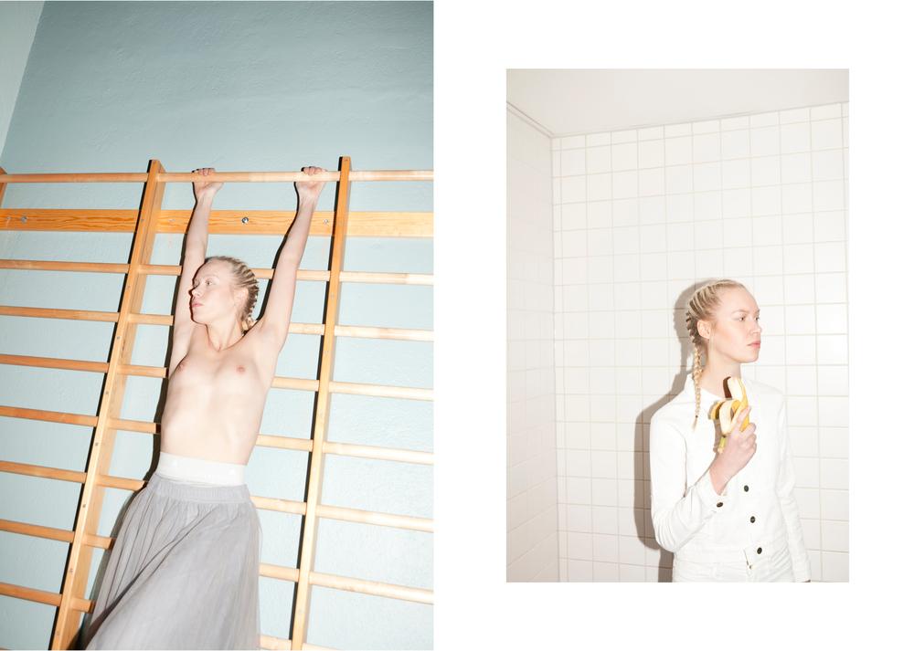 Shorts ADIDAS by STELLA McCARTNEY   Skirt CATHRINE HAMMEL   /  Whitedenim jacket and pants FRAME
