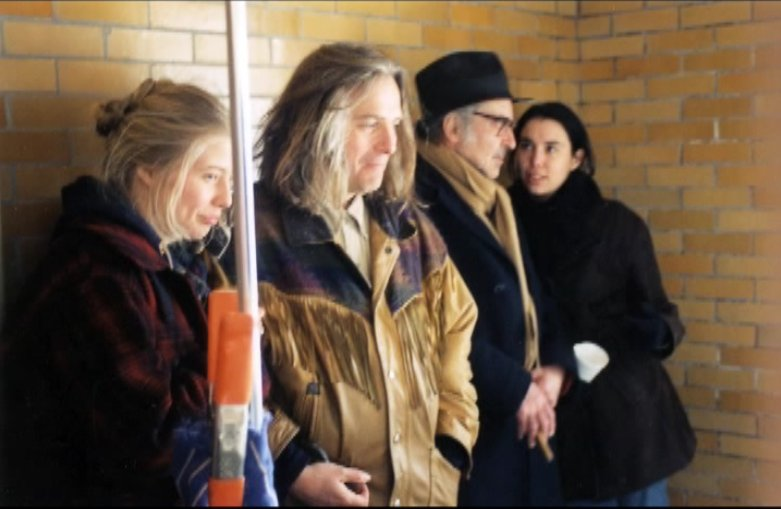On location in Maryland, USA, 1997, INSIDE/OUT; from left to right: Earecka Tregenza, Rob Tregenza, Jean-Luc Godard, Bérangère Allaux